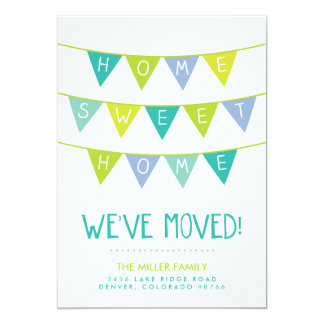Cute Bunting and Stripes Moving Announcement