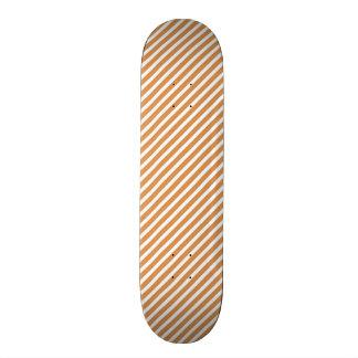 Cute Burnt Orange and White Diagonal Stripes Custom Skateboard