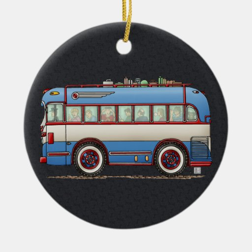 Cute Bus Tour Bus Christmas Tree Ornaments
