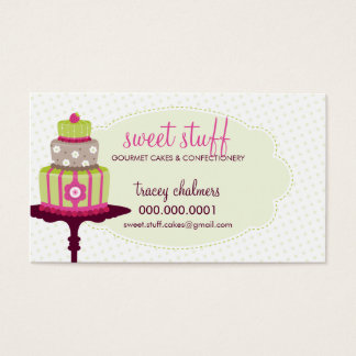 CUTE BUSINESS CARD sweet cake bakery lime pink