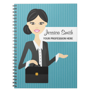 Cute Business Woman Illustration With Black Hair Notebooks
