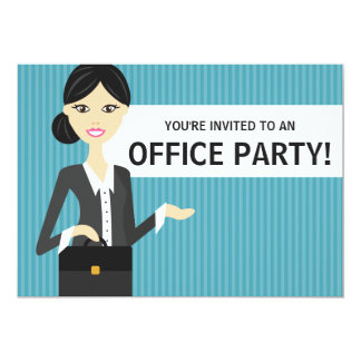 Cute Business Woman With Black Hair Office Party Card
