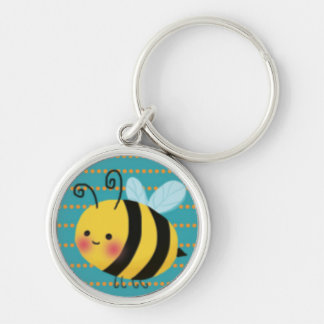 Cute Busy Bumble Bee Silver-Colored Round Keychain