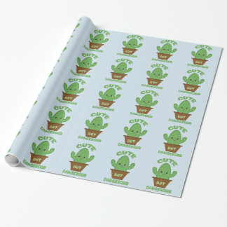 Cute But Dangerous - Kawaii Cactus - Funny Wrapping Paper