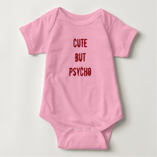 Cute but Psycho Baby Girl Bodysuit Pink Horror