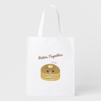 Cute Butter Pancakes Better Together Funny Foodie Reusable Grocery Bag