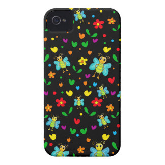 Cute butterflies and flowers pattern - black iPhone 4 cover