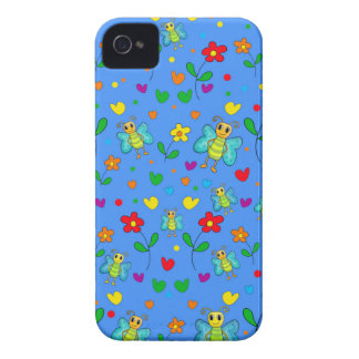 Cute butterflies and flowers pattern - blue Case-Mate iPhone 4 case