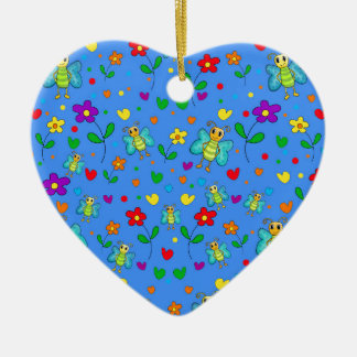 Cute butterflies and flowers pattern - blue ceramic heart ornament