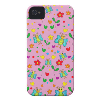 Cute butterflies and flowers pattern - pink iPhone 4 case