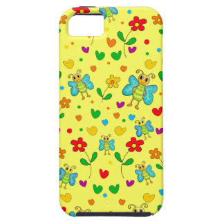 Cute butterflies and flowers pattern - yellow case for the iPhone 5