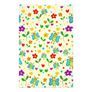 Cute butterflies and flowers pattern - yellow stationery design