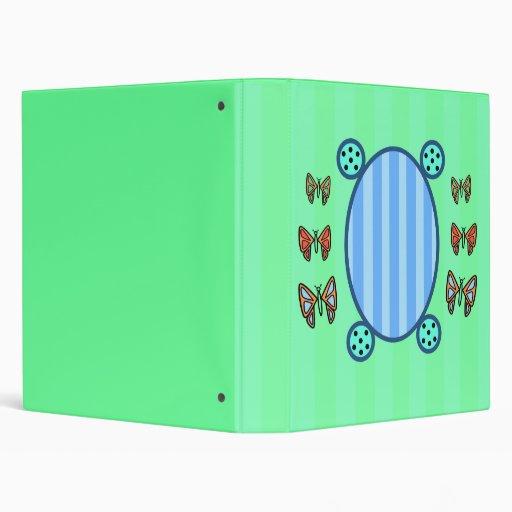Cute butterflies on light green and blue stripes 3 ring binder