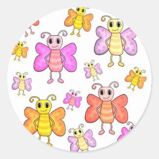 Cute butterflies pattern round sticker