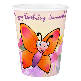 Cute Butterfly And Colorful Flowers Paper Cup