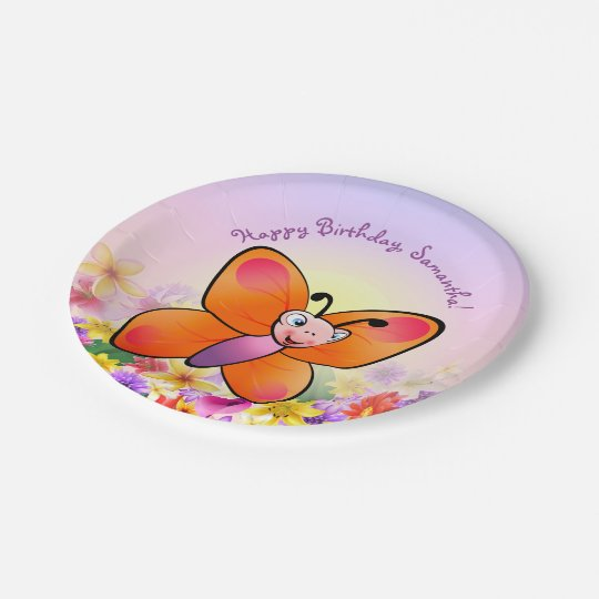 Cute Butterfly And Colourful Flowers Paper Plate