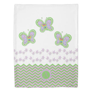 Cute Butterfly and Flowers with Custom Initial Duvet Cover