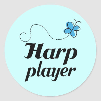 Cute Butterfly Harp Player Music Gift Classic Round Sticker