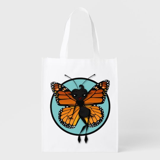CUTE BUTTERFLY LADY REUSABLE BAG GROCERY BAG