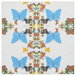 Cute Butterfly Mirrored Collage Pima Cotton Fabric