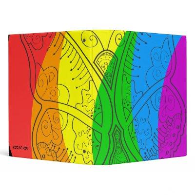 Cute Butterfly Tattoo Art Rainbow Stripe Gay Pride 3 Ring Binders by binderz