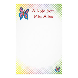 Cute butterfly   with your child's name stationery