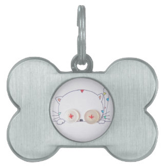cute button eyed kitten and cupcake pet tag