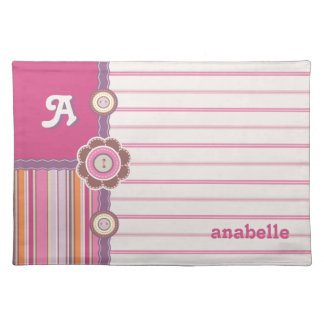 Cute Buttons Pink Stripes Monogram Kids placemat