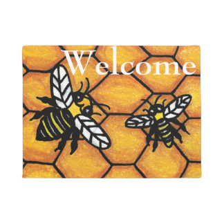 Cute Buzzing Yellow and Black Bees Honeycomb Doormat