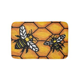 Cute Buzzing Yellow Jacket Bee Honeycomb Bath Mat