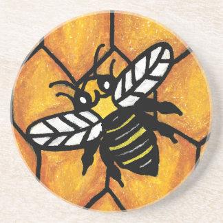 Cute Buzzing Yellow Jacket Bee on Honeycomb Coaster