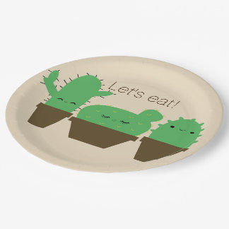 Cute cacti kawaii plants party paper plates