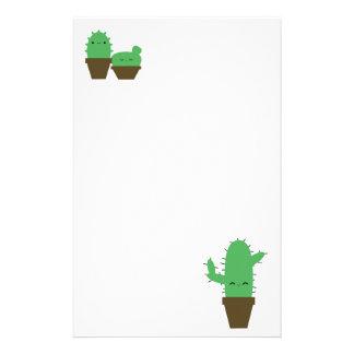 Cute cacti kawaii plants stationary personalized stationery
