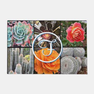 Cute cacti & roses close-up photo custom monogram doormat