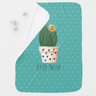 Cute Cactus and Polka Dot Turquoise Baby Blanket