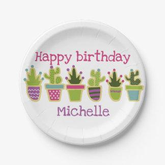 Cute cactus design paper plate