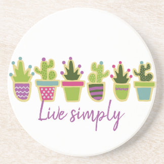 Cute cactus design with custom background color coaster