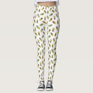 Cute cactus design with custom background color leggings
