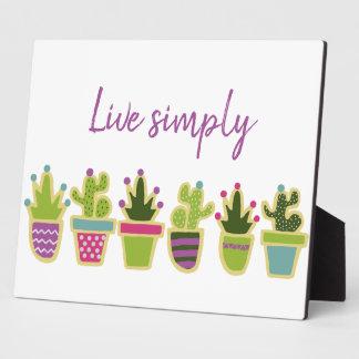 Cute cactus design with custom background color plaque