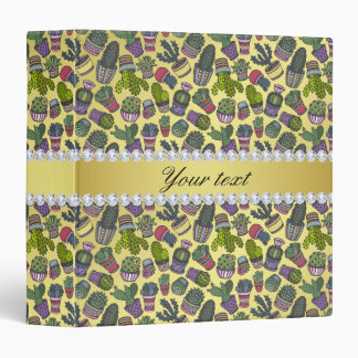 Cute Cactus Faux Gold Foil Bling Diamonds Binders
