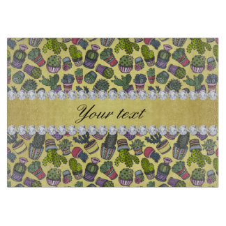 Cute Cactus Faux Gold Foil Bling Diamonds Boards
