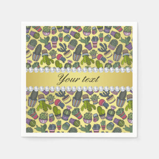 Cute Cactus Faux Gold Foil Bling Diamonds Disposable Napkin