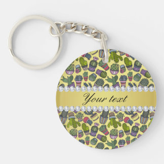 Cute Cactus Faux Gold Foil Bling Diamonds Double-Sided Round Acrylic Keychain