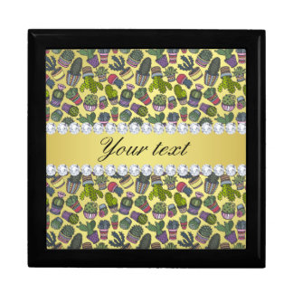 Cute Cactus Faux Gold Foil Bling Diamonds Gift Box