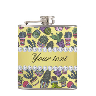 Cute Cactus Faux Gold Foil Bling Diamonds Hip Flask