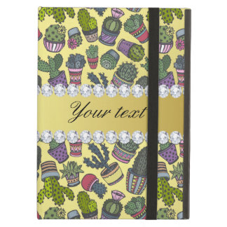 Cute Cactus Faux Gold Foil Bling Diamonds iPad Air Cover