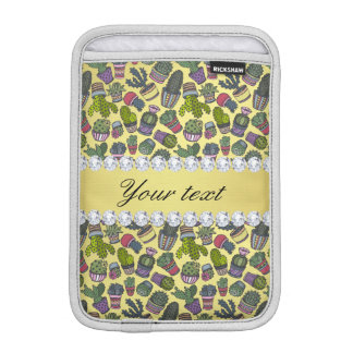 Cute Cactus Faux Gold Foil Bling Diamonds iPad Mini Sleeve