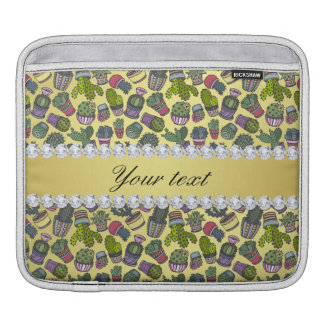 Cute Cactus Faux Gold Foil Bling Diamonds iPad Sleeve