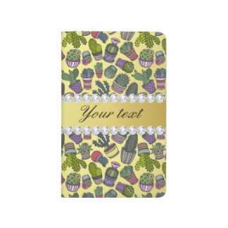 Cute Cactus Faux Gold Foil Bling Diamonds Journal