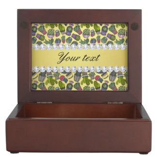 Cute Cactus Faux Gold Foil Bling Diamonds Keepsake Box
